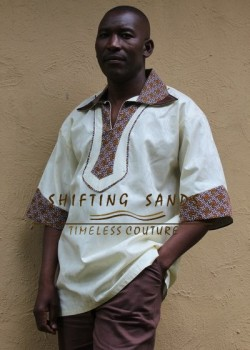 SIYA - Shifting Sands traditional african inspired Sotho or Tswana shwe shwe detailed short sleeve shirt with collar