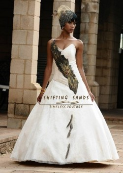 Shifting Sands Traditional African baige Tswana wedding dress with feather detail