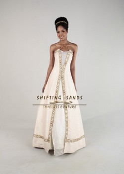 Shifting Sands Traditional African silk and organza A line wedding dress with border embroidery
