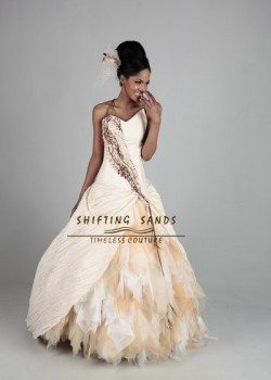 Shifting Sands Traditional African taffeta and silk ball gown wedding dress with animal print front detail