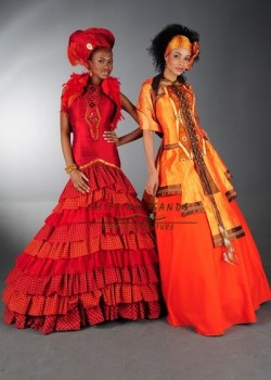 Shifting Sands Traditional African. Left - Shwe Shwe and silk frill wedding dress with beaded panel and trim. Right - Zulu inspi