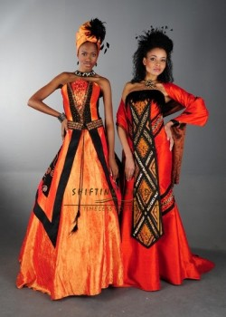 Shifting Sands Traditional African. Left - Xhosa inspired taffeta wedding dress with front panel beading. Right - Zulu inspired