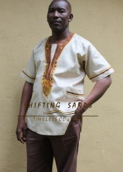 TIM - Shifting Sands traditional african embroided short sleeve cotton shirt