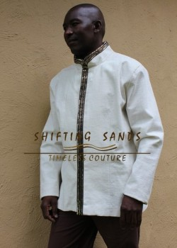 UNATHI - Shifting Sands traditional african linen lined jacket with front embroidered detail and chinese collar